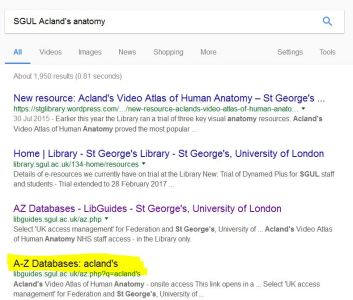 A-Z aclands google screenshot
